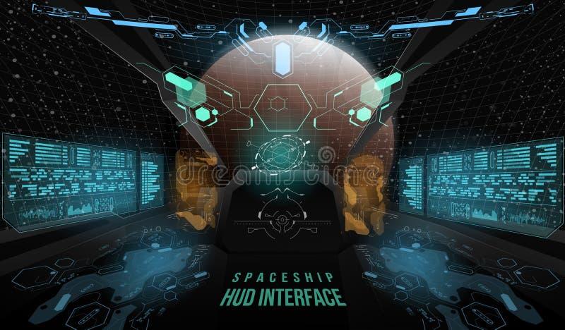 Mening van het cockpitruimteschip Head-up vertoningselementen voor de Ruimteschipinterface Malplaatje UI voor app en virtueel vector illustratie