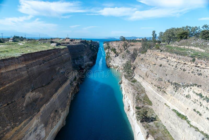 Mening van het Corinth-kanaal in Griekenland royalty-vrije stock fotografie