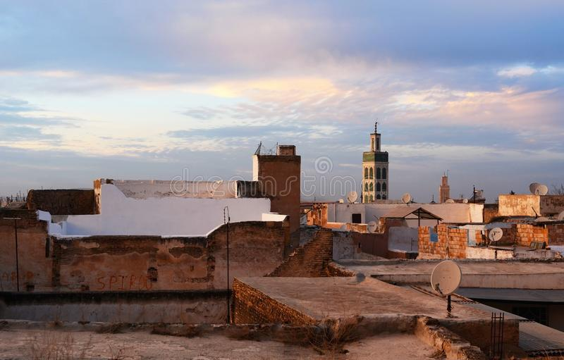 Mening van het dak van Bou Inania Madrasa royalty-vrije stock fotografie