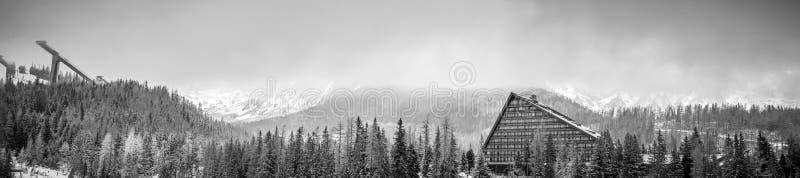 Mening van het de winter de toneelpanorama van berg met een hotel en schansspringenplatform royalty-vrije stock afbeeldingen
