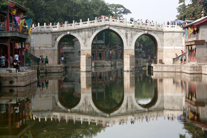 Mening van het de Zomerpaleis met mooie brug stock foto