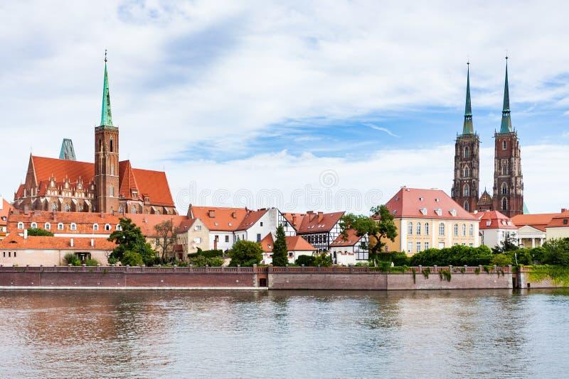 Mening van het district van Ostrow Tumski in Wroclaw-stad stock foto