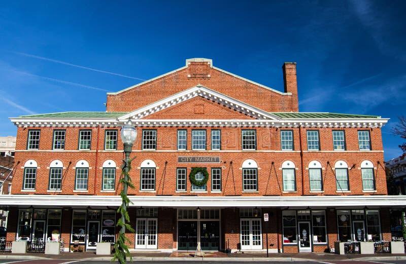 Mening van het Gebouw van de Stadsmarkt in Roanoke, Virginia, de V.S. stock fotografie