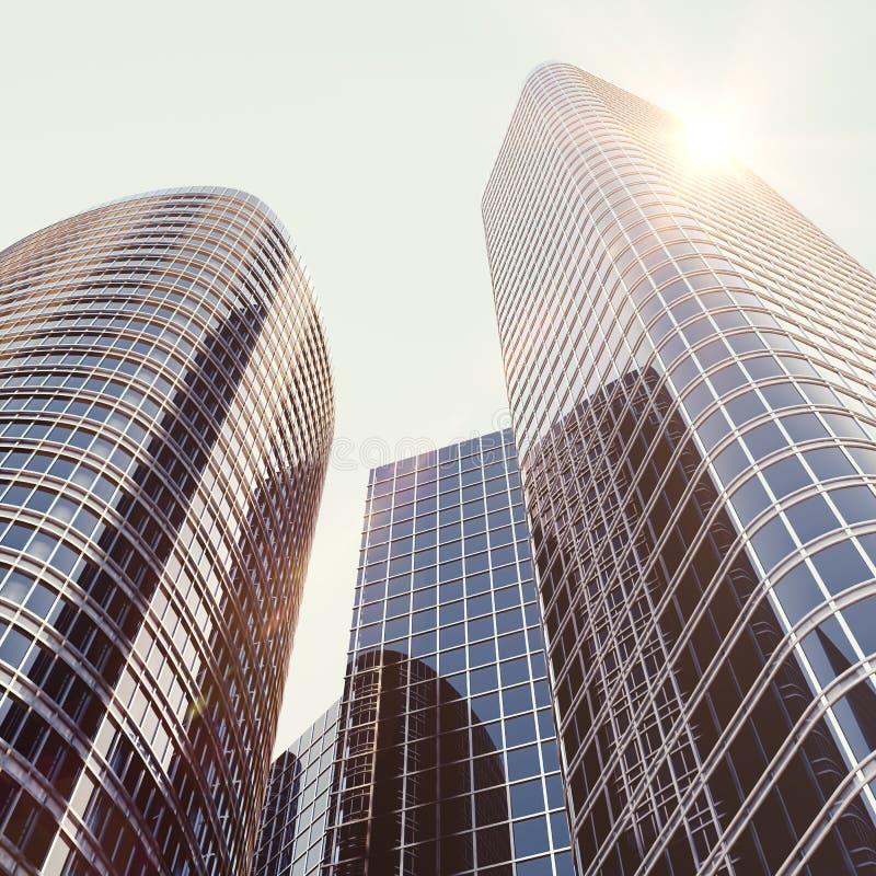Mening van het glasgebouw, high-rise de bouw, wolkenkrabber, commerciële moderne stad van toekomst Economisch en financieel stock illustratie