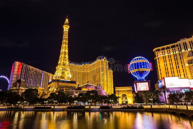 Mening van het het hotel en casino van Parijs Las Vegas bij nigth, LAS VEGAS, de V.S. royalty-vrije stock fotografie