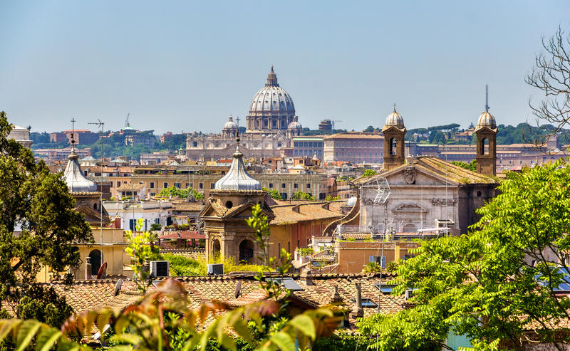 Mening van het historische centrum van Rome, Italië royalty-vrije stock afbeeldingen