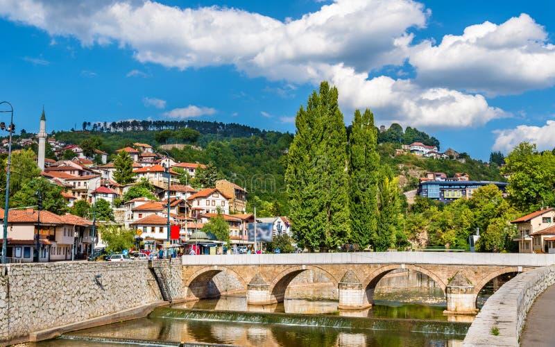 Mening van het historische centrum van Sarajevo royalty-vrije stock foto