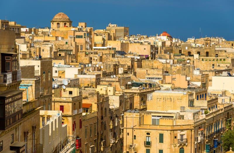 Mening van het historische centrum van Valletta stock fotografie