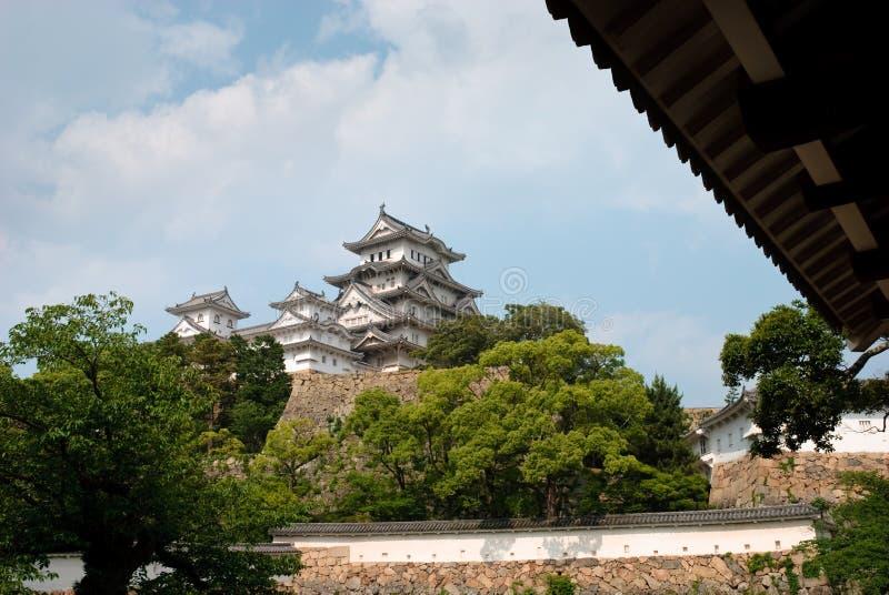 Mening van het Kasteel van Himeji, Japan stock foto