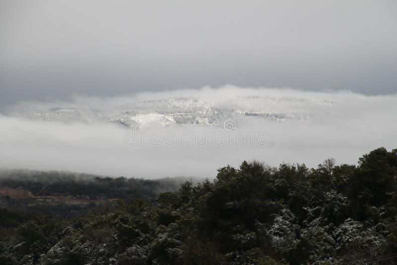 Mening van het landschap van de sneeuw op MT Meron stock afbeeldingen