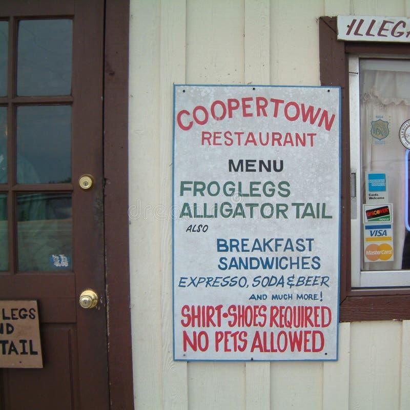 Mening van het menu bij Coppertown-restaurant stock afbeeldingen