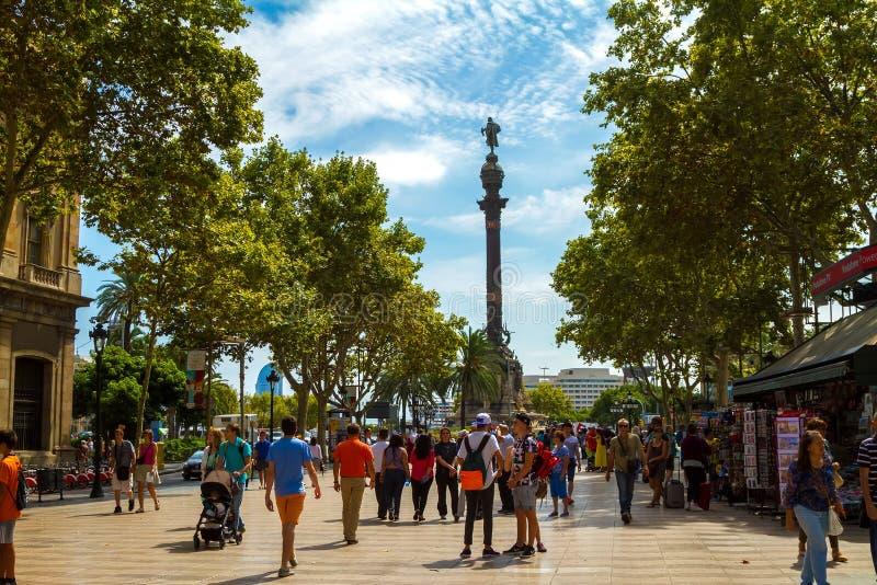Mening van het monument van Columbus van Ramblas in Barcelona royalty-vrije stock afbeelding