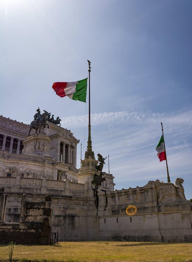 Mening van het nationale monument Vittorio Emanuele II, Piazza Venezia in Rome, Italië stock afbeeldingen