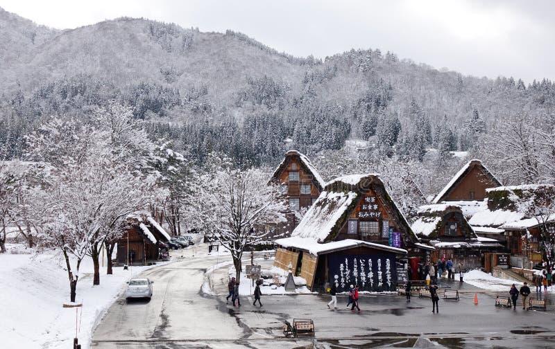 Mening van het oude dorp in Takayama, Japan royalty-vrije stock afbeeldingen