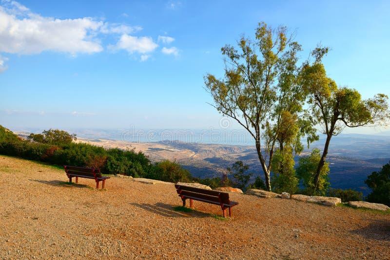 Mening van het overzees van het meer van Galilee Kineret van berg stock afbeeldingen