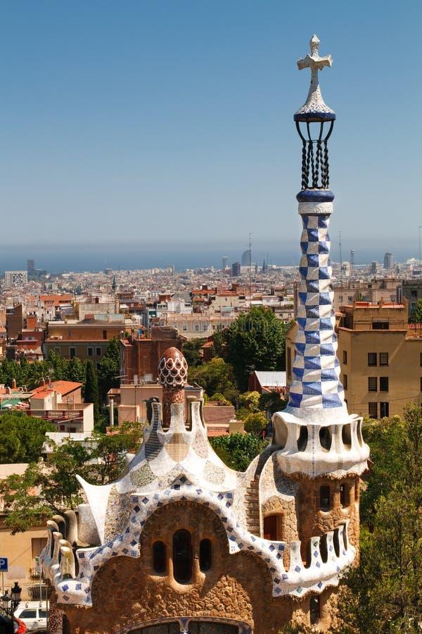 Mening van het Park Guell, Barcelona van Antoni Gaudi's stock afbeeldingen