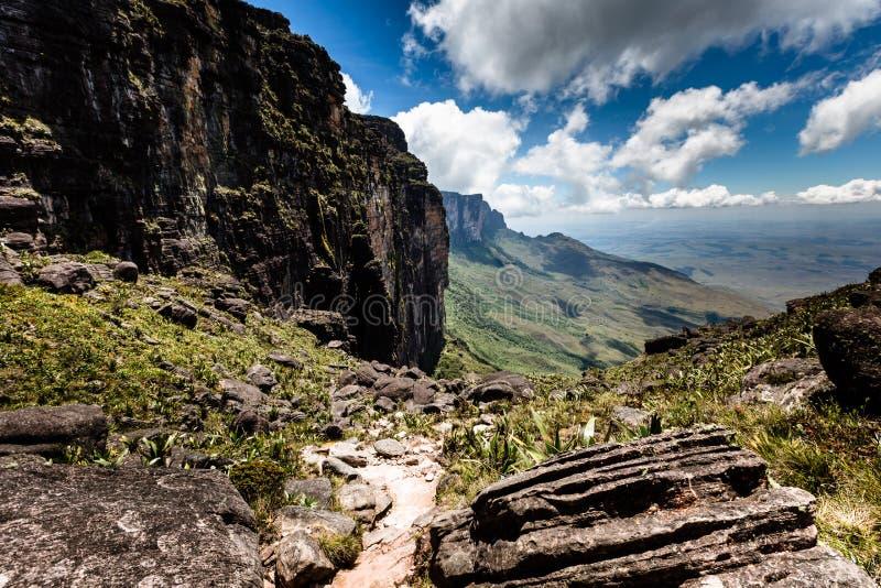 Mening van het plateau Roraima aan het gebied van Gran Sabana - Venezuela, Zuid-Amerika stock afbeelding