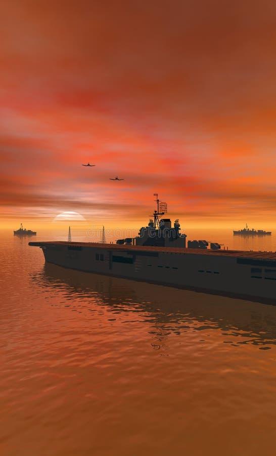 Mening van het Portret van de carrier de op zee stock illustratie