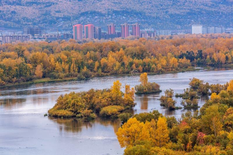 Mening van het slaapgebied in de Gouden herfst in de stad van Krasnoyarsk, Rusland royalty-vrije stock fotografie