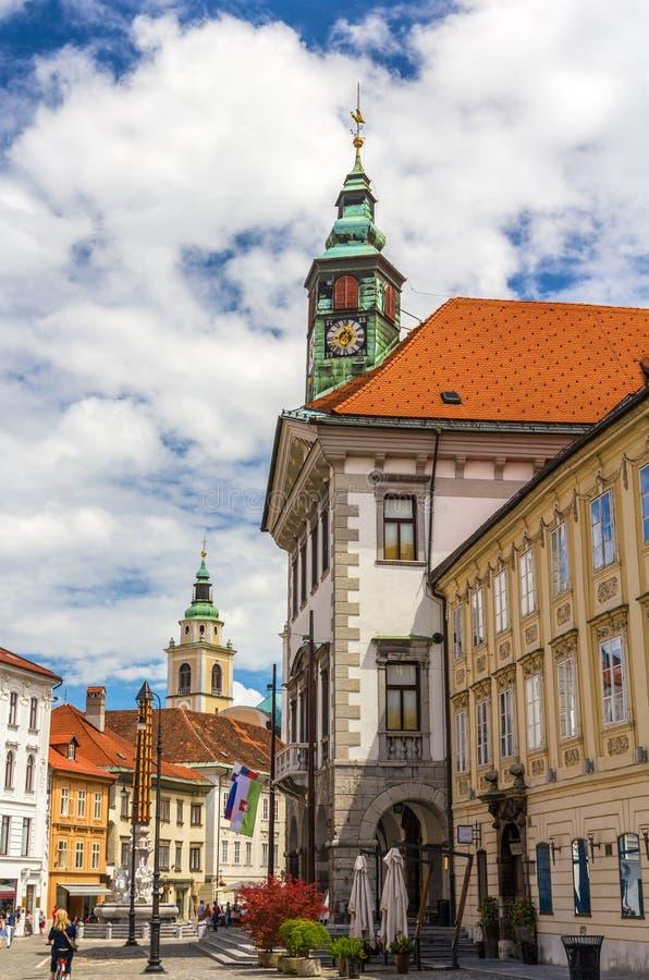 Mening van het stadhuis van Ljubljana, Slovenië royalty-vrije stock fotografie