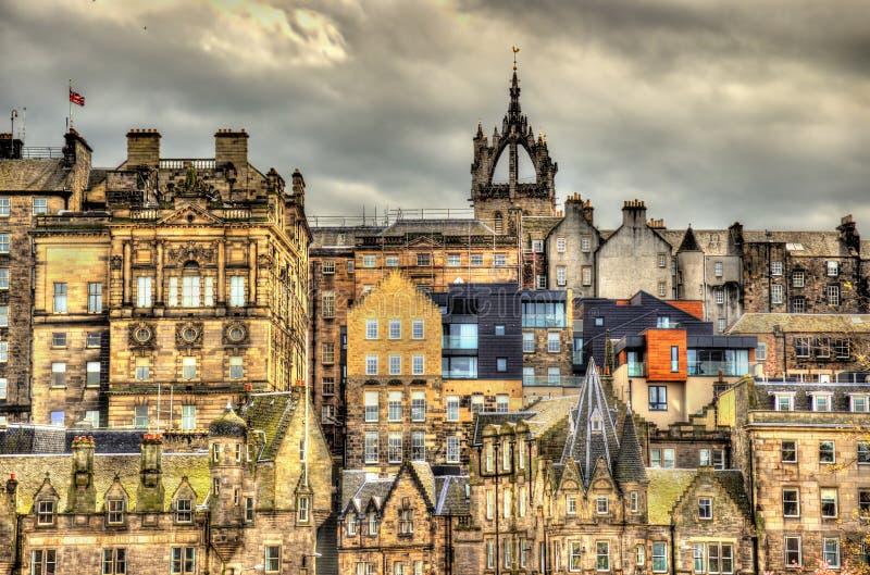 Mening van het stadscentrum van Edinburgh stock foto's