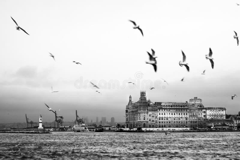 Mening van het station van Istanboel Haydarpasa in zwart-wit stock afbeeldingen