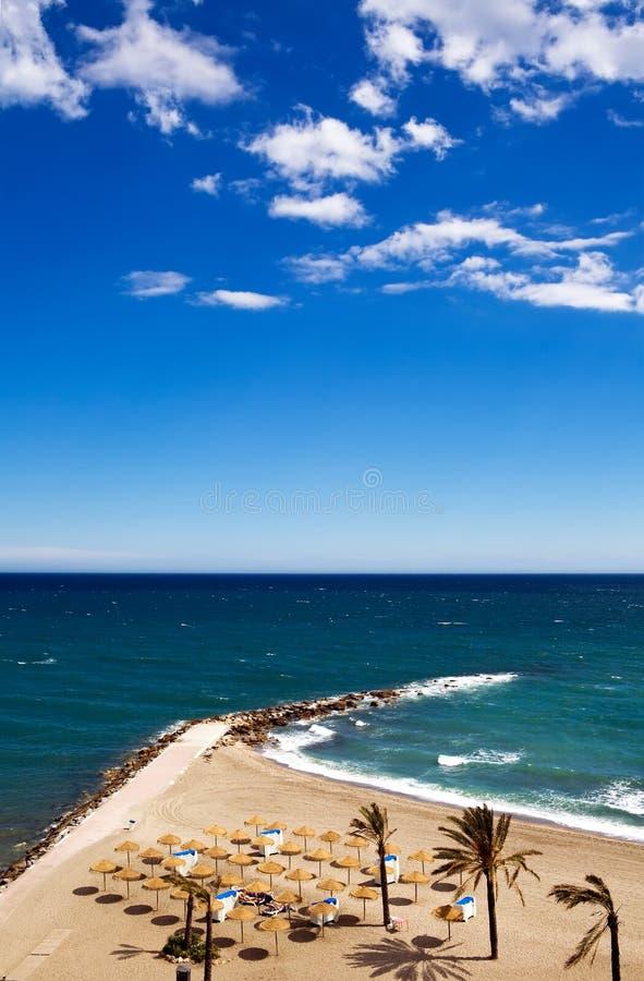 Mening van het strand van Costa del Sol royalty-vrije stock foto's