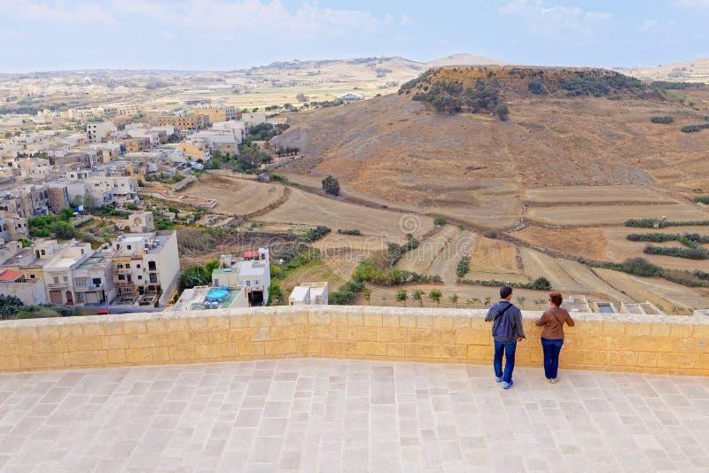 Mening van het terras van de Citadel, Gozo, Malta royalty-vrije stock foto