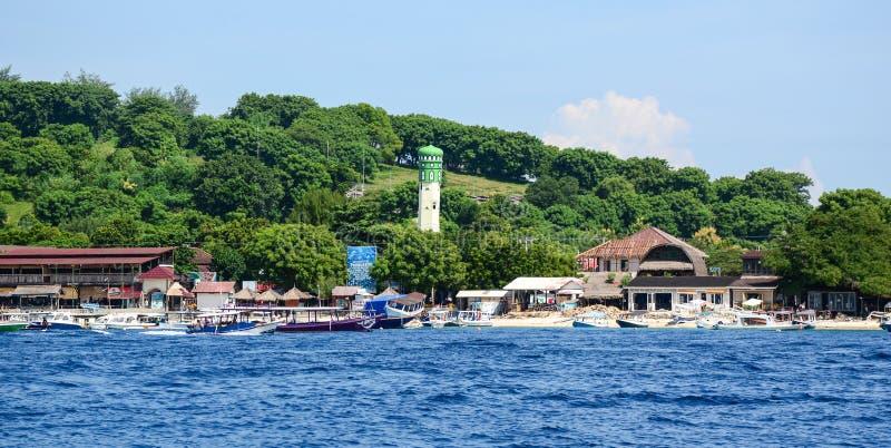 Mening van het visserijdorp in Gili Meno, Indonesië royalty-vrije stock foto's