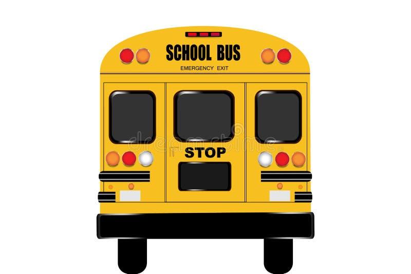 Mening van het volledige achtergedeelte van de schoolbus vector illustratie