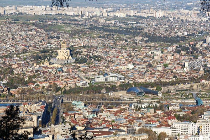 Mening van hierboven aan Tbilisi royalty-vrije stock foto