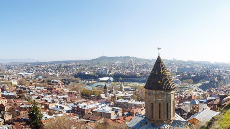 Mening van hierboven over de oude stad, Tbilisi royalty-vrije stock afbeelding