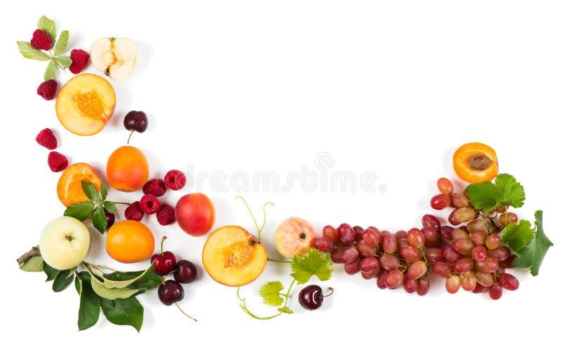 Mening van hierboven van kleurrijk vruchten kader stock foto's