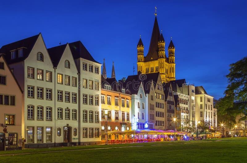 Mening van historisch centrum van Keulen, Duitsland royalty-vrije stock foto's