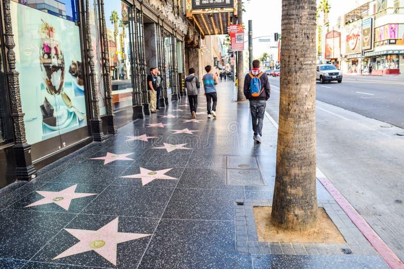 Mening van Hollywood-Boulevard bij zonsondergang stock foto