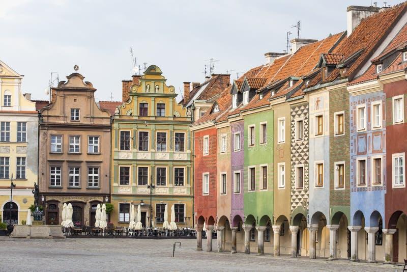 Mening van hoofd vierkante Rynek van poetsmiddelstad Poznan stock foto's