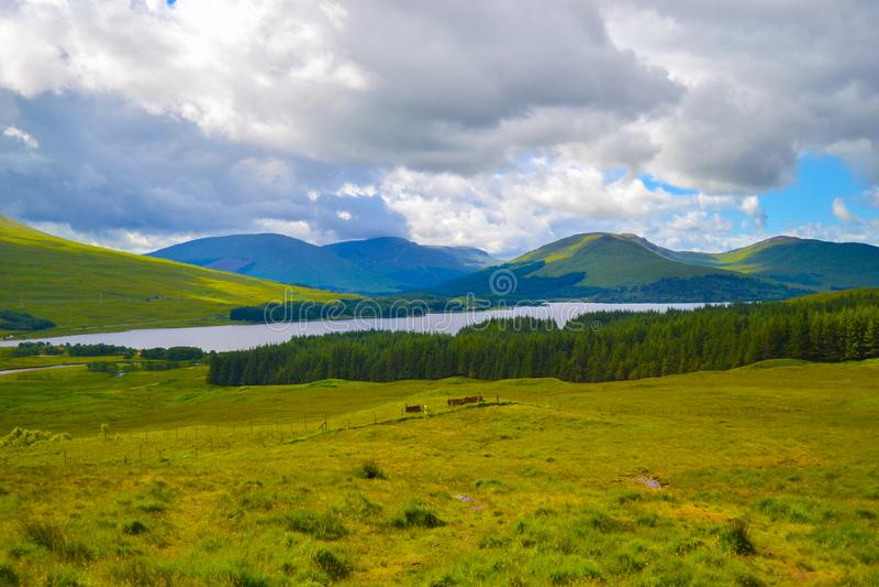 Mening van Hooglanden, in Schotland, een mooi groen gebied met l stock afbeeldingen