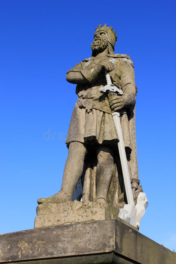 Standbeeld van Koning Robert Bruce, kasteel Stirling stock foto