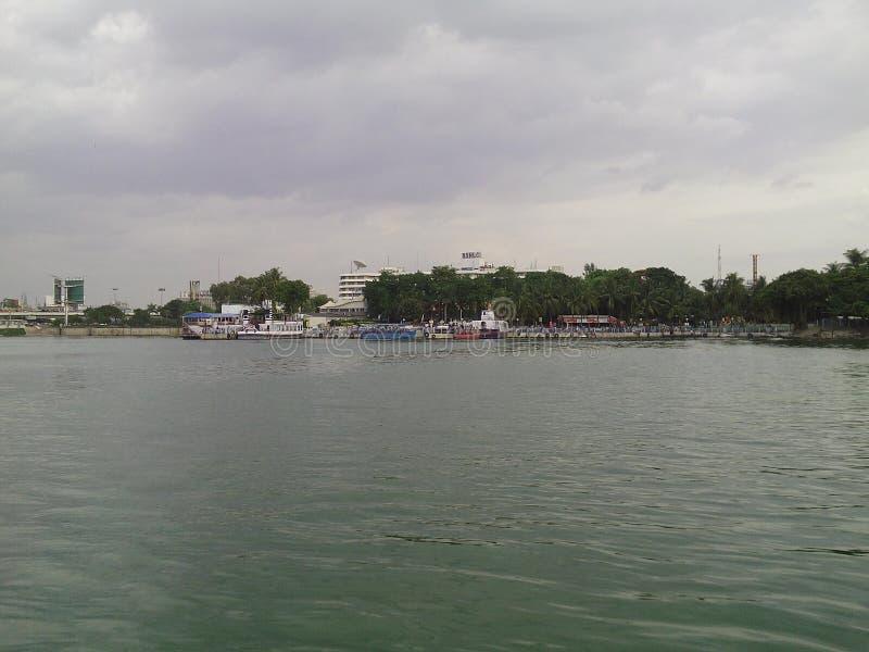 Mening van Hussain Sagar Lake stock afbeeldingen