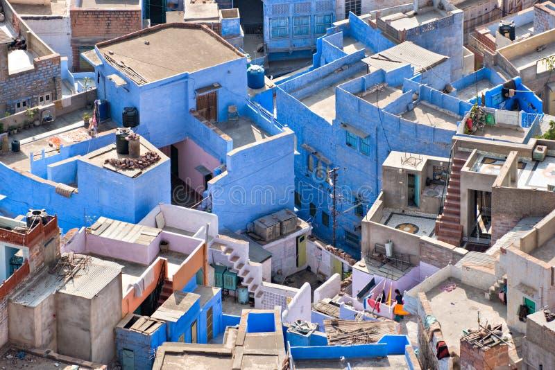 Mening van Jodhpur, de blauwe stad. stock afbeeldingen