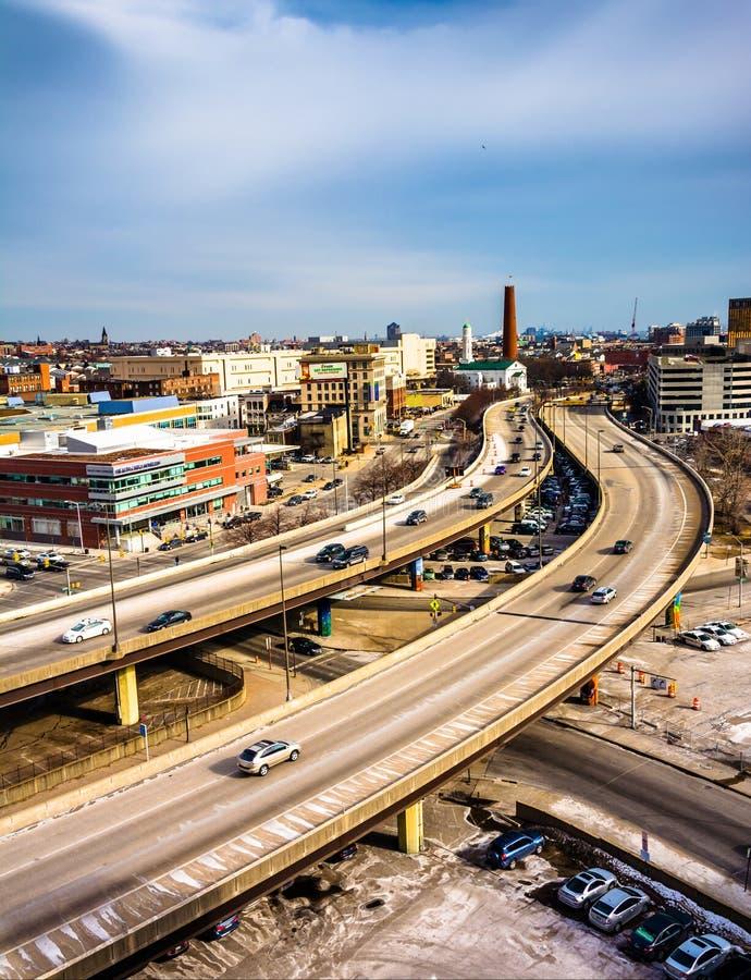 Mening van Jones Falls Expressway in Baltimore, Maryland stock foto