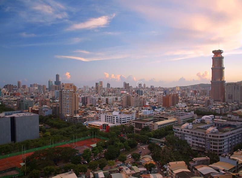Mening van Kaohsiung-Stad in Taiwan bij Schemer royalty-vrije stock foto's