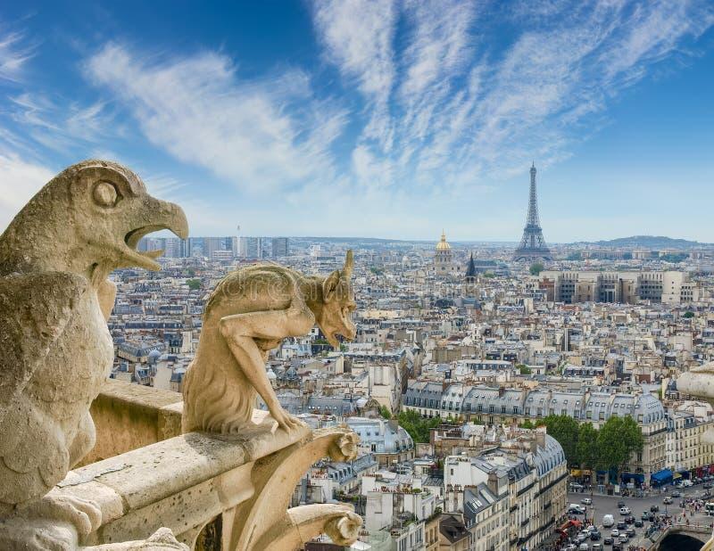 Mening van Kathedraal Notre-Dame met gargouilles op de voorgrond royalty-vrije stock afbeeldingen