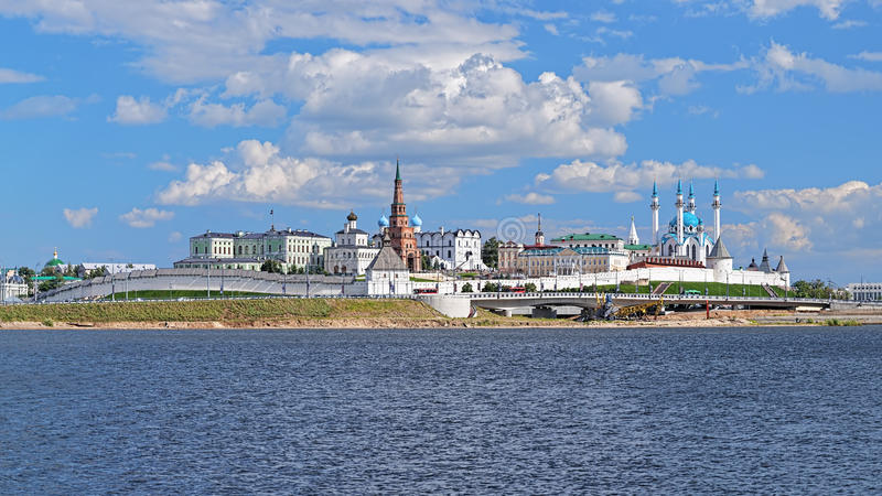 Mening van Kazan het Kremlin, Republiek Tatarstan, Rusland stock afbeelding