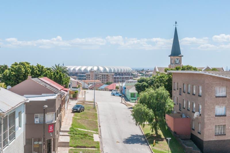 Mening van Kirkwood-Straat in North End in Port Elizabeth stock foto