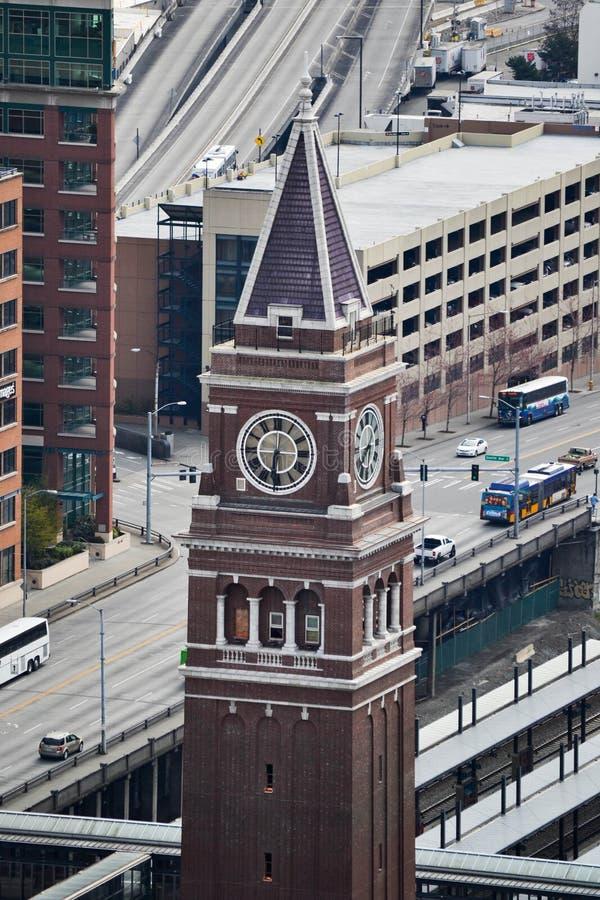 Mening van Koning Street Station van Smith Tower-observatiedek, Seattle, Washington royalty-vrije stock afbeelding