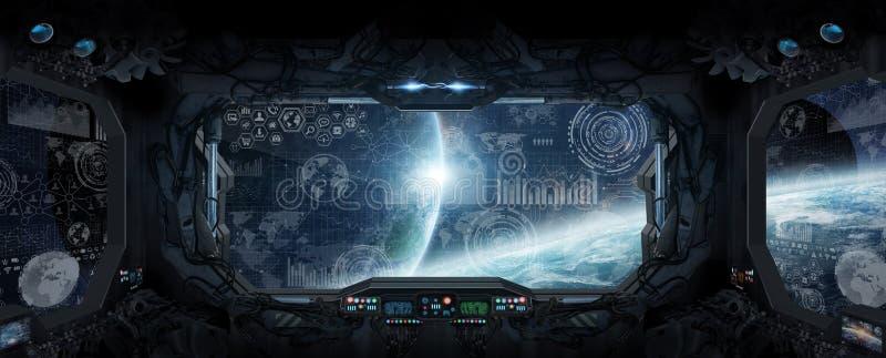 Mening van kosmische ruimte van het venster van een ruimtestation stock illustratie