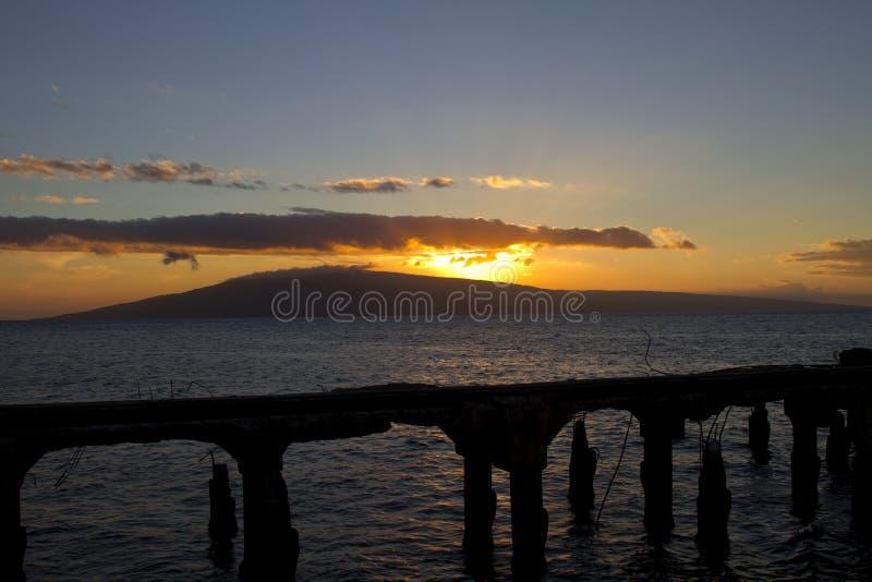 Mening van Lanai van Mala Harbor op Hawaï stock foto