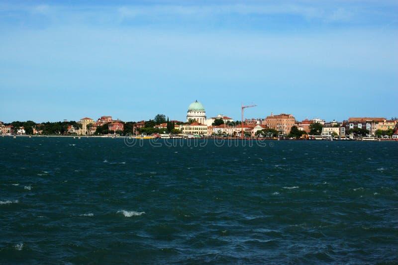 Mening van Lido van San Servolo, Venetië royalty-vrije stock foto