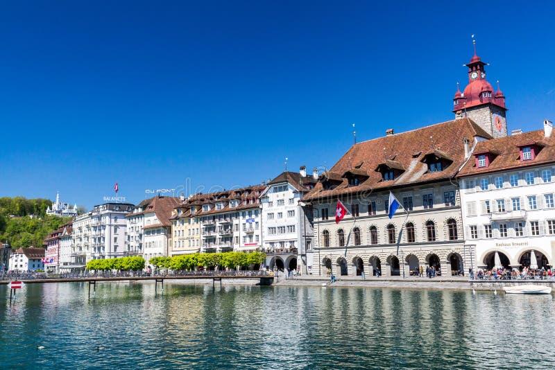 Mening van Luzerne in de lente van 2017 in Zwitserland royalty-vrije stock afbeeldingen